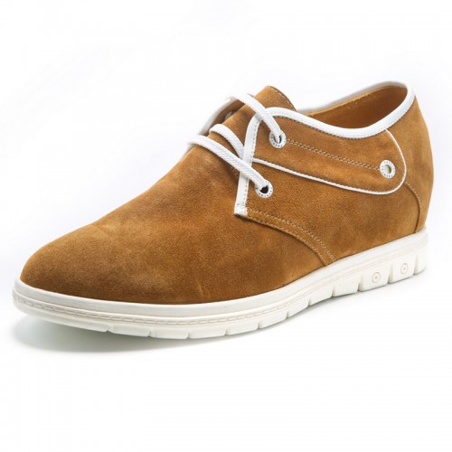 Yellow suede elevator shoes 6cm / 2.4inch lace-up lift shoes for men