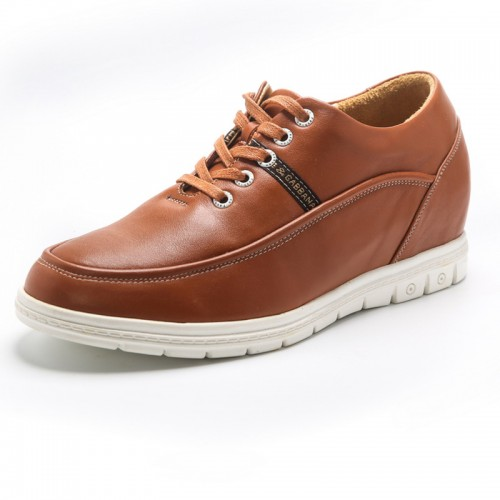 Concise height elevator shoes 6cm / 2.4inch yellow calfskin taller casual shoes