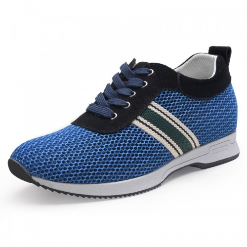 Ventilated mesh elevator sneakers height grow 6cm / 2.36inch blue running shoes