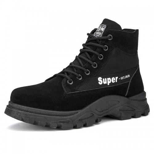 Black Elevator Desert Boot Height Increasing Men's Chukka Boots Add Taller 3.2 inch / 8 cm