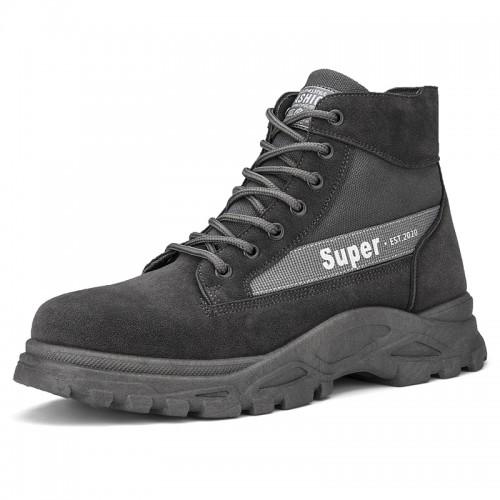 Gray Hidden Lift Desert Boot Height Increasing Men's Chukka Boots Boost 3.2 inch / 8 cm