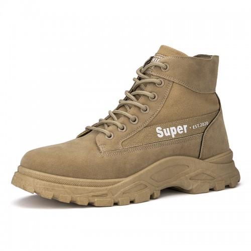 Khaki Hidden Tall Desert Boot Height Increasing Men's Chukka Boots Enhance 3.2 inch / 8 cm