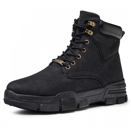 Comfortable Elevator Work Boots for Men Taller 3.2inch / 8cm Fashion Hidden Lift Ankle Boot Black Military Boots