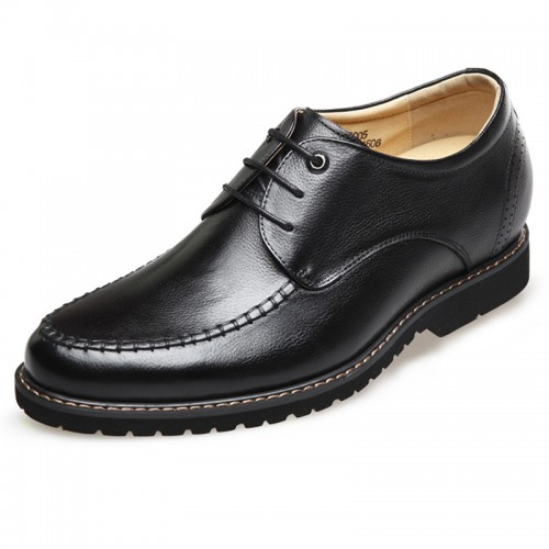 Lightweight soft leather stitched elevator casual shoes 2.6inch / 6.5cm Black