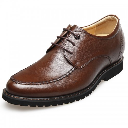 Lightweight soft leather stitched taller casual shoes 2.6inch / 6.5cm Brown