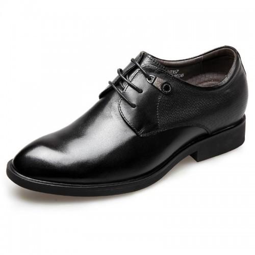 Plain Elevator Tuxedo Shoes Black Lace Up Taller Wedding Shoes 2.6inch / 6.5cm