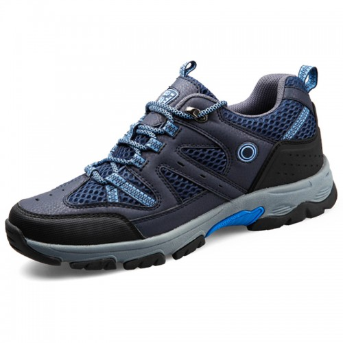 Quality height elevator hiking shoes 6.5cm / 2.6inch blue mountaineering shoes