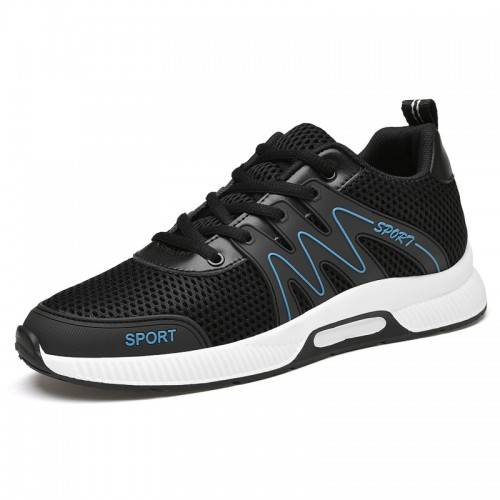 2021 Summer Elevator Shoes for Men Add Taller 3 inch / 7.5 cm Breathable Black Mesh Sneakers