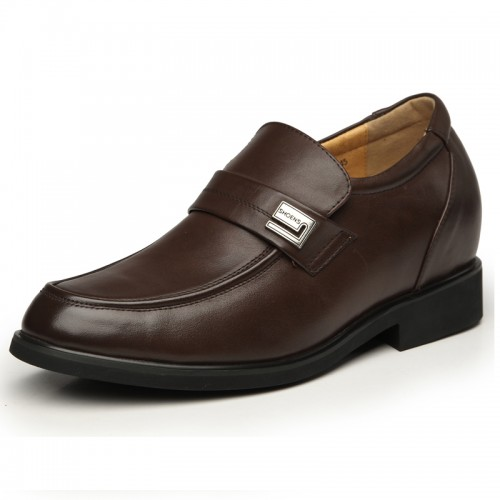 Brown cowhide grain leather slip on elevator dress shoes 8cm / 3.15inches extra height