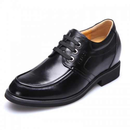 Black calfskin height tall shoes 8cm / 3.15inches elevator career shoes