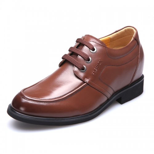 Men high heel shoes make you taller 8cm / 3.15inches brown elevator derby shoes