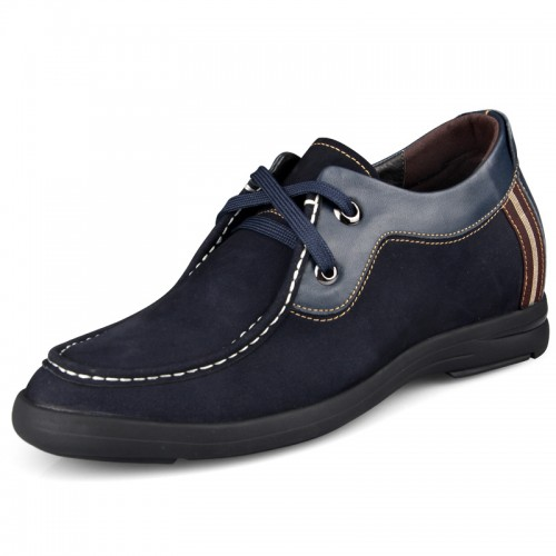 Blue suede elevator casual shoes get altitude 6.5cm / 2.56inch