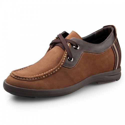 brown suede height increasing casual shoes get taller 6.5cm / 2.56inch