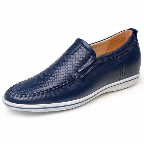 Blue height increasing drive shoes 6cm / 2.36inches slip-on elevator loafers