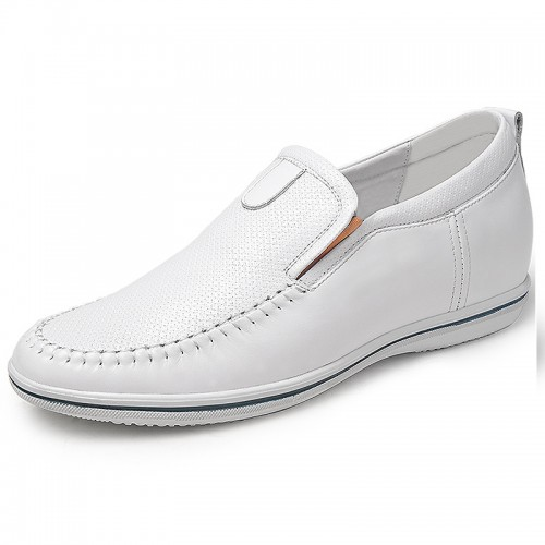 White calfskin elevator drive shoes 6cm / 2.36inches slip-on height adding casual shoes