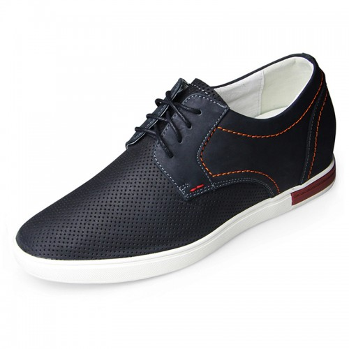 Premium nubuck leather elevator skateboard shoes 6cm / 2.36inch black hollow out casual shoes