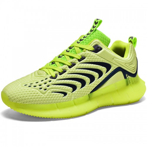 Green Luminous Elevator Sneakers for Men Gain Taller 2.4inch / 6cm Breathable Tide Low-cut Bowling Shoes