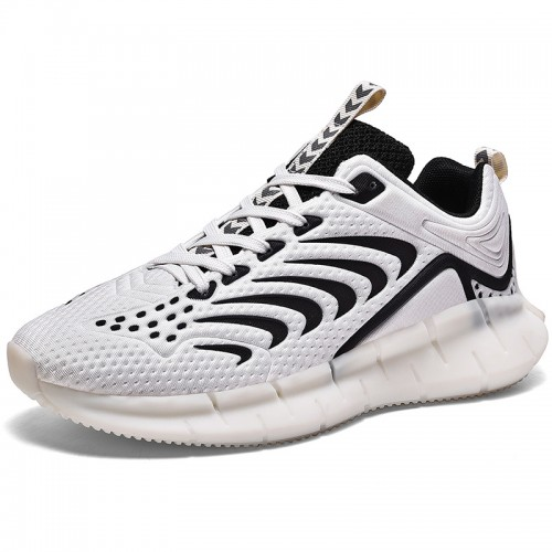 White Luminous Hidden Taller Men Sneakers Increase 2.4inch / 6cm Breathable Tide Low-cut Bowling Shoes