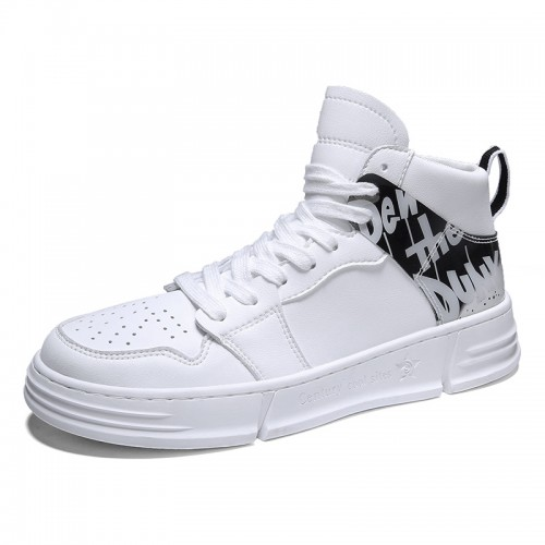 White Taller Street Skateboarding Shoes High Top Fashion Sneakers Increase 2.8inch / 7cm