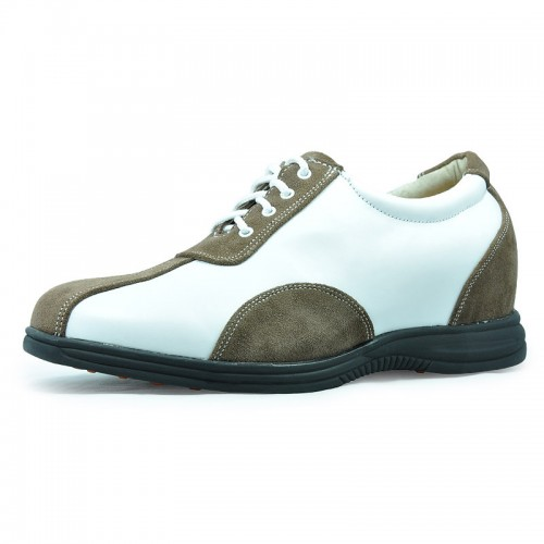 Khaki men elevator casual shoes get taller 7.5cm / 2.95inches Golf Shoes
