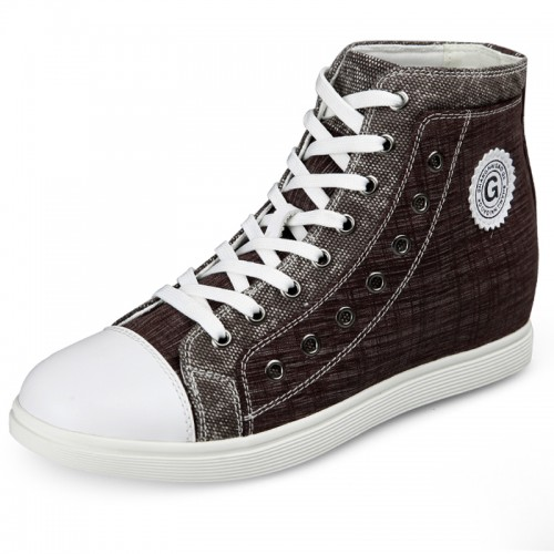 High top height increasing casual board shoes brown canvas sneaker 2.6inch / 6.5cm