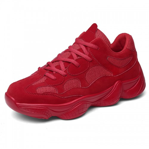 Red elevator sneakers shoes for men increase height 7cm / 2.8cm lace up hidden lifts sports shoes