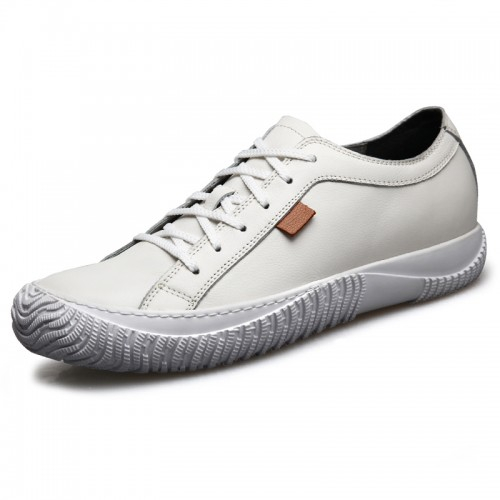 2019 Cap Toe Elevator Casual Shoes for Men Taller 2.6inch / 6.5cm White Soft Cowhide Grain Leather Shoes