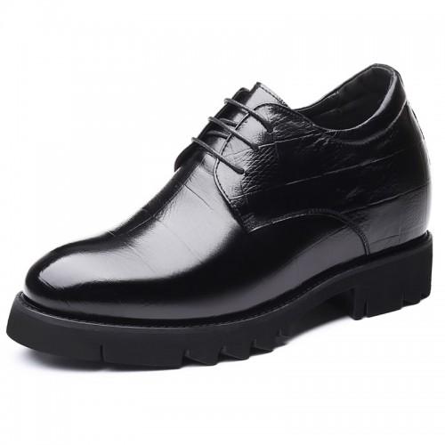 Black Height Enhancing Business Formal Shoes for Men Increase Taller 4inch / 10cm Calfskin Elevator Derbies
