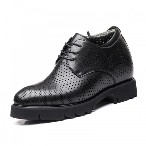 Black Summer Elevator Shoes Perforated Dress Oxfords Make You Look Taller 4inch / 10cm