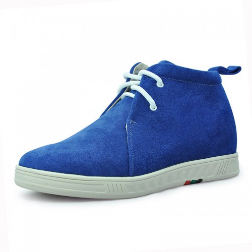 Blue Suede leather leisure and comfortable high heel ankle boots height increasing 2.75 inches/7cm