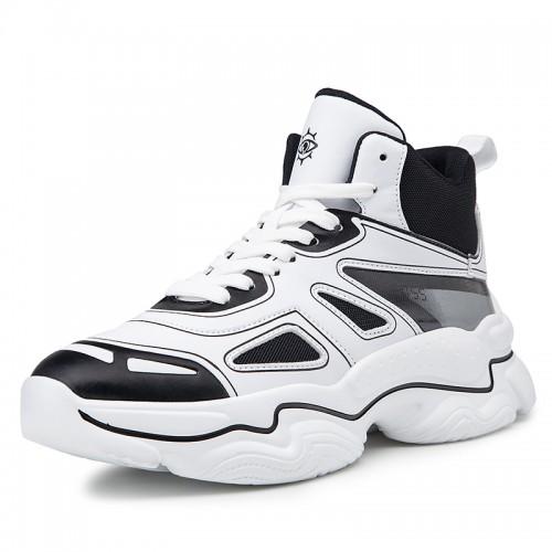 Elevator Celebrity Sports Shoes Add Taller 3.2inch / 8cm Black Hidden Lift Basketball Shoes