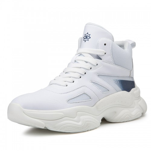 Celebrity Elevator Sports Shoes Look Taller 3.2inch / 8cm White Hidden Height Basketball Shoes