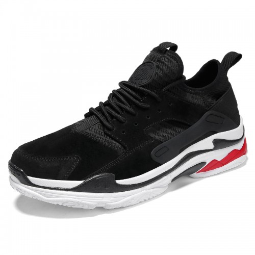 Black Elevator Flying Shoes for men Increase Height 2.4inch / 6cm fashion sneakers