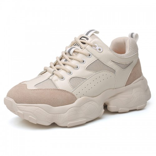 Height Elevator Clunky Sneakers Add Taller 3.2inch / 8cm Khaki Trendy Increasing Dad Shoes