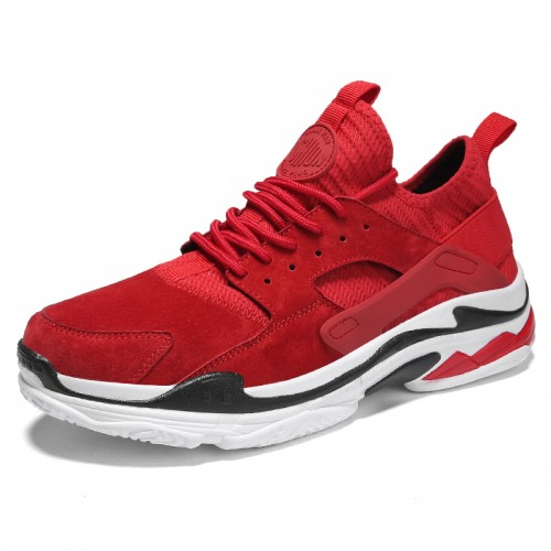 Red elevator fashion sneakers for men get taller 2.4inch / 6cm