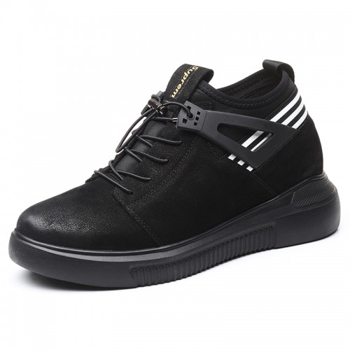 Lightweight Hidden Taller Casual Shoes for Men Increase Height 3.2inch / 8cm Nubuck Leather Elevator Shoes