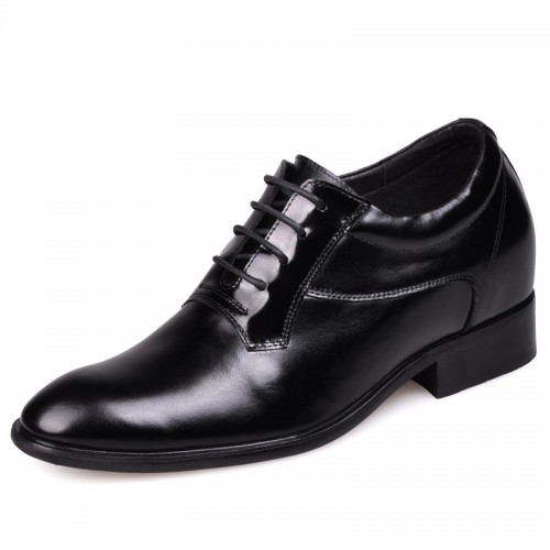 Black Europe elevator shoes for men increase height 7cm / 2.75inch