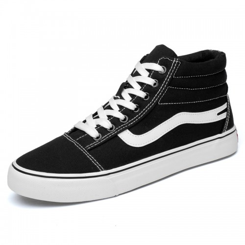 Trendy Elevator Plimsolls Shoes for men increasing 7cm black high top sneakers