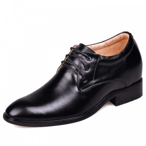 Black men height increasing elevator dress shoes improve taller 7cm / 2.75inches