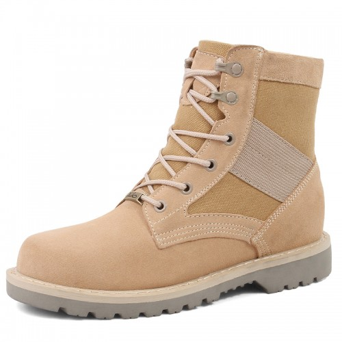 Men Elevator Working Boot Make You Taller 3.2inch / 8cm Brown Casual Martin Boots