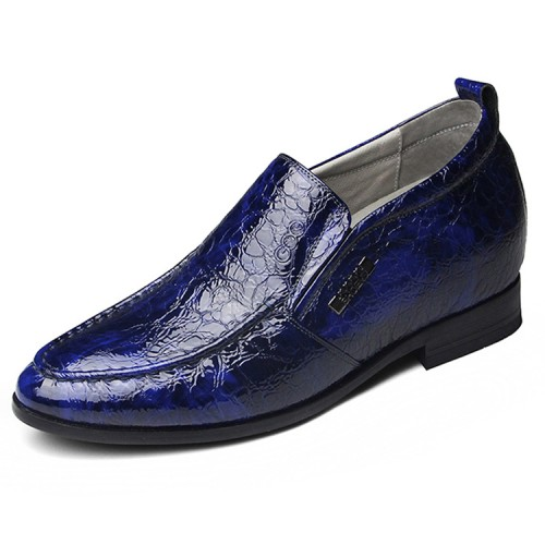 Patent leather wedding shoes height increasing 6.5cm / 2.56inch blue business loafers
