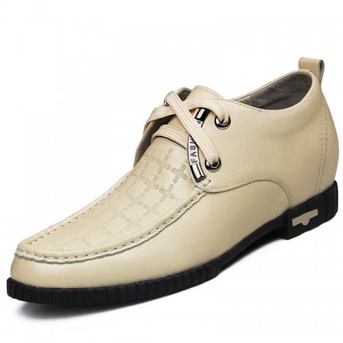 Elevator dance shoes men height increasing 6.5cm / 2.56inch beige wedding shoes