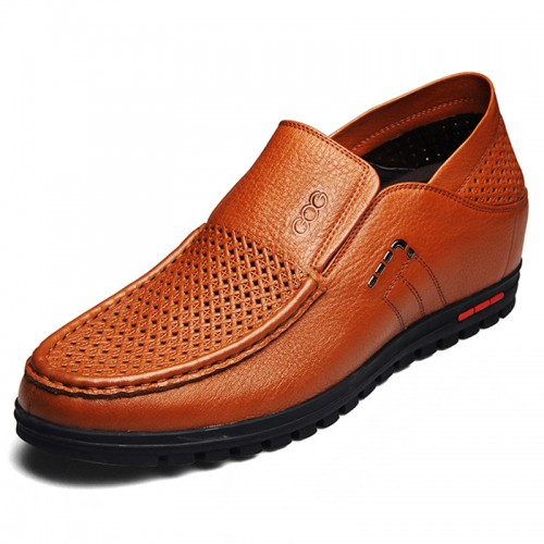 Yellowish-brown soft soled hidden insole sandals 5.5cm / 2.17inch soft vamp slip on boat shoes