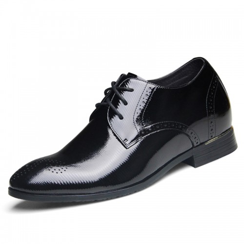 Exquisitely lace up elevator wedding shoes 6.5cm / 2.56inch black taller derby shoes