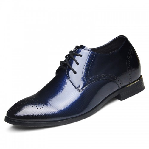 Exquisitely lace up elevator tuxedo shoes 6.5cm / 2.56inch blue height derby shoes
