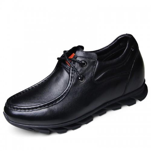 Soft upper elevator casual shoes 6cm / 2.36inch black hidden heel lace up shoe