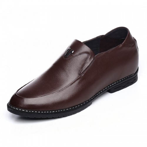 Quality calfskin formal boat shoes add height 6cm / 2.36inch brown taller loafers
