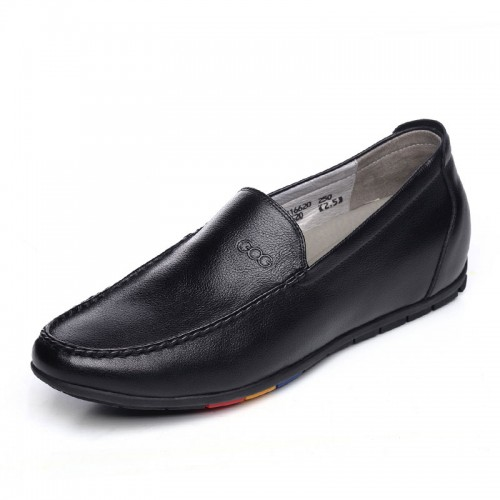 Stylish elevator men doug shoes gain height 6cm / 2.36inch black slip on casual shoes