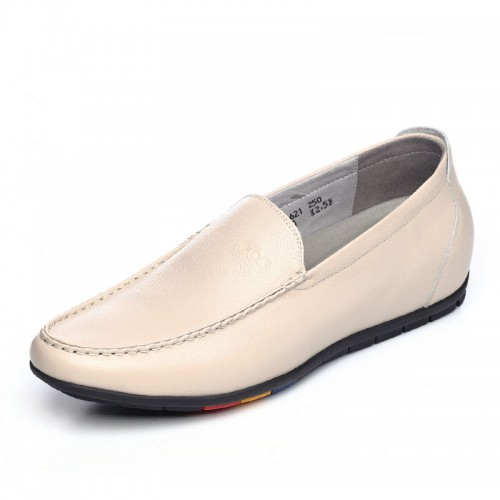 Stylish taller men doug shoes gain height 6cm / 2.36inch beige slip on casual shoes