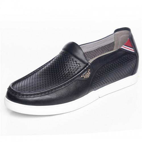Breathable elevator loafers 5.5cm / 2.17inch black soft cowhide boat shoes
